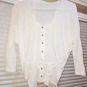 Tops - White button-down top with ruffles